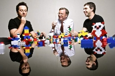 Google founders Sergey Brin, left, and Larry Page, right, with their CEO Eric Schmidt